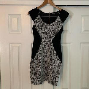 Express Black and White body-con Dress Size 2